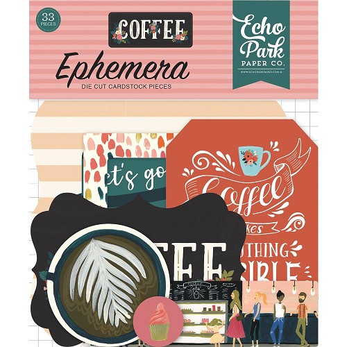 50771 Echo Park Coffee Cardstock Die-Cuts 33/Pkg Icons.