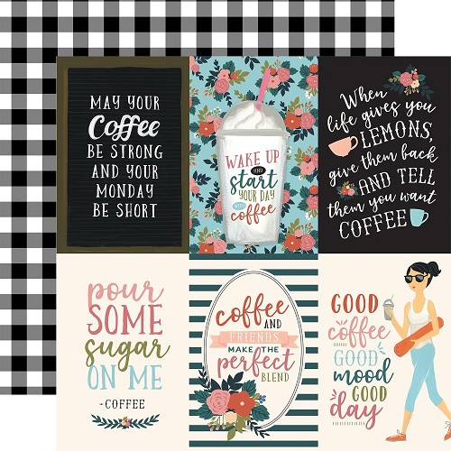"50774 Echo Park Coffee Double-Sided Cardstock 12""X12""4""X6"" Vertical Journaling Cards."