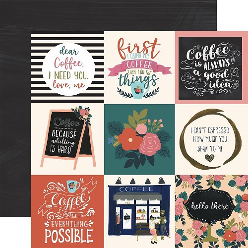 "50776 Echo Park Coffee Double-Sided Cardstock 12""X12""4""X4"" Journaling Cards."