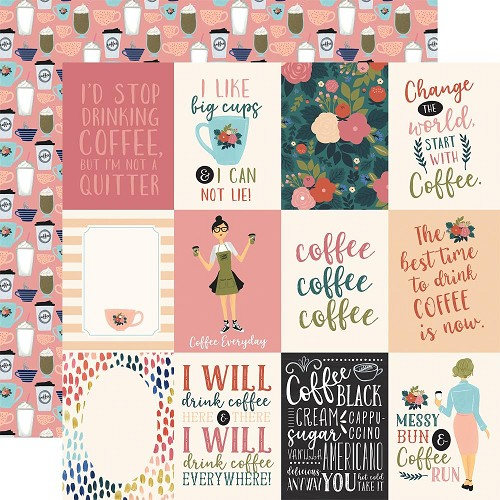 "50778 Echo Park Coffee Double-Sided Cardstock 12""X12""3""X4"" Journaling Cards."