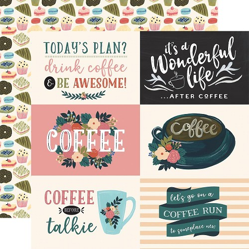 "50780 Echo Park Coffee Double-Sided Cardstock 12""X12""3""X4"" 4""X6"" Horizontal Journaling Cards."