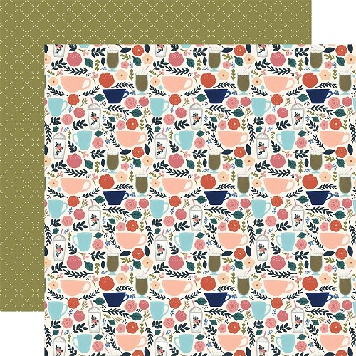 "50781 Echo Park Coffee Double-Sided Cardstock 12""X12""3""X4"" 4""X6"" Coffee Cups."