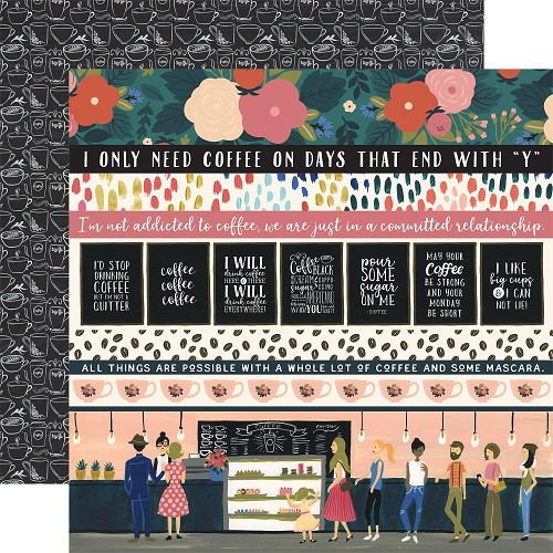 "50782 Echo Park Coffee Double-Sided Cardstock 12""X12""3""X4"" 4""X6"" Border Strips."