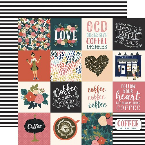 "50784 Echo Park Coffee Double-Sided Cardstock 12""X12""3""X4"" 3""X3"" Journaling Cards."