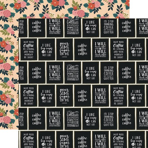 "50785 Echo Park Coffee Double-Sided Cardstock 12""X12""3""X4"" I Like Big Cups."