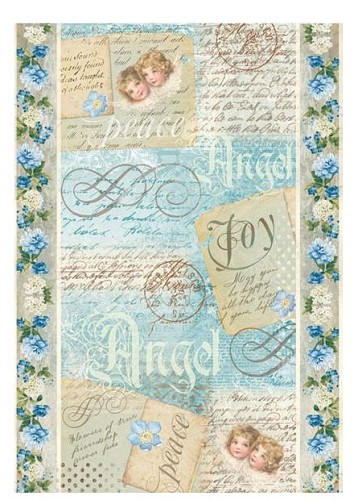 50873 Stamperia Rice Paper Sheet A4 Angel Postcards (DFSA4009).