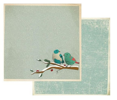 "50878 Stamperia Double-Sided Cardstock 12""X12"" Snow Texture W/Birds (SBB405)."