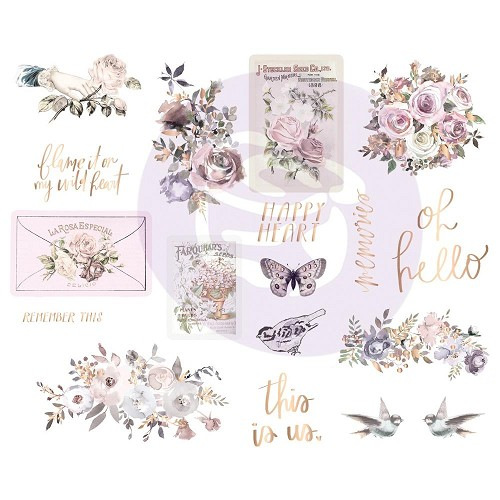 "50882 Prima Lavender Frost Chipboard Stickers 5""X8"" 2/Pkg Icons W/Foil Accents (634339)."