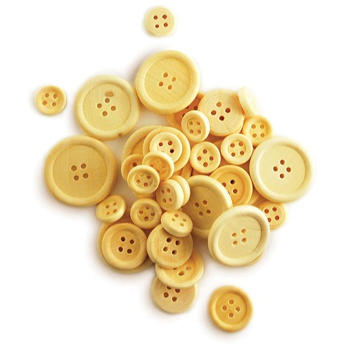 50925 Craftwood Craft Buttons Assorted 40/Pkg Natural.