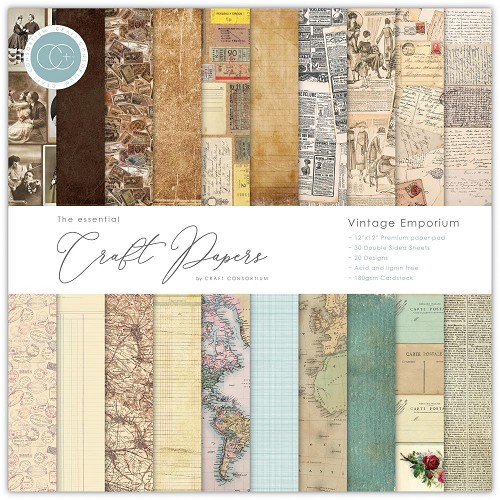"51027 Craft Consortium Double-Sided Paper Pad 12""X12"" 30/Pkg Vintage Emporium 20 Designs."