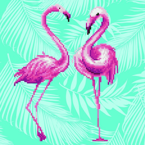 51042  DIAMOND ART Kits 32x32cm Flamingo Duo (49353).