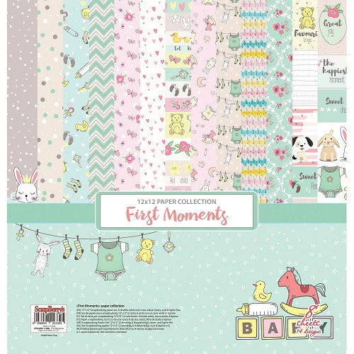 "51210 ScrapBerry`s First Moments Paper Pack 12""X12"" 8/Pkg (SCB220611100B)."