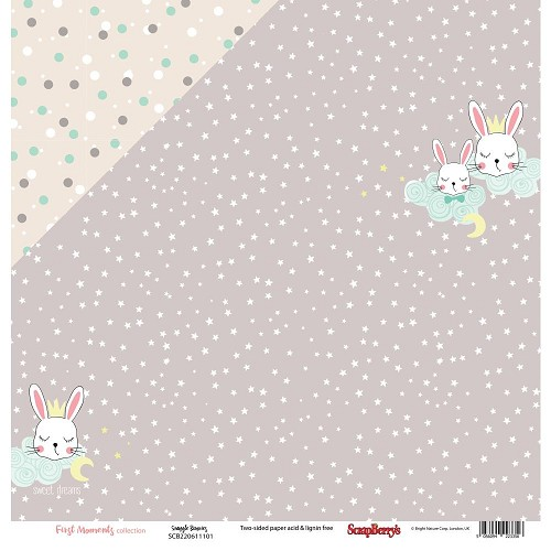 "51211 ScrapBerry`s First Moments Double-Sided Cardstock 12""X12""Snuggle Bunnies."