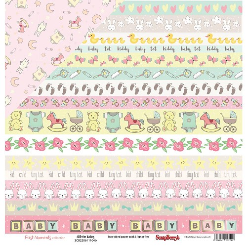 "51214 ScrapBerry`s First Moments Double-Sided Cardstock 12""X12"" Little One Borders."