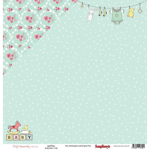 "51216 ScrapBerry`s First Moments Double-Sided Cardstock 12""X12"" Sweet Green."