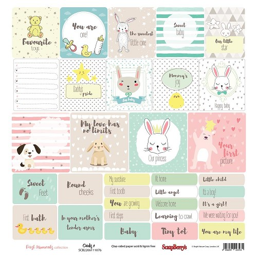 "51217 ScrapBerry`s First Moments Single-Sided Cardstock 12""X12"" Cards 1.."