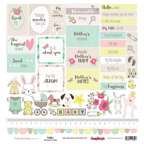 "51218 ScrapBerry`s First Moments Single-Sided Cardstock 12""X12"" Cards 2."