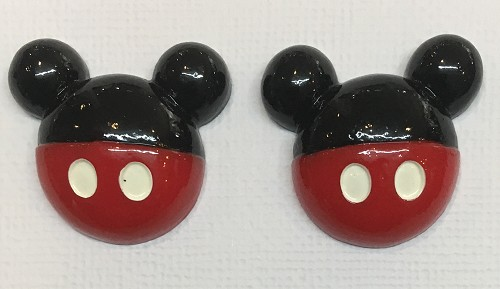 51226 Mickey Resin 2 Stuks 28x26mm.