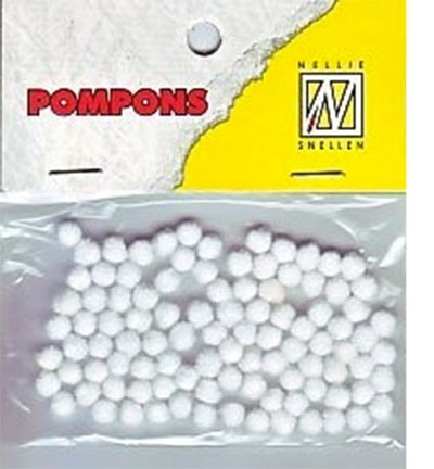 51265 Nellie Snellen Mini Pompoms White 100 Stuks/3 MM (POM001).