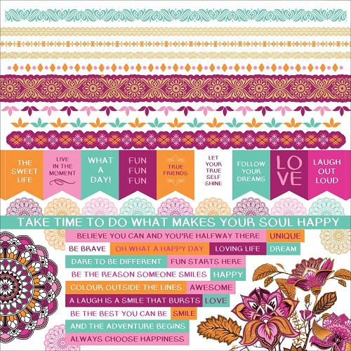 "51331 Kaisercraft Bombay Sunset Cardstock Stickers 12""X12."