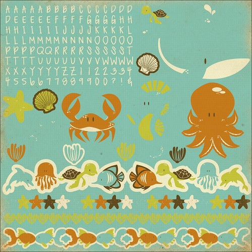 "51338 Kaisercraft Rock Pool Sea Friends Cardstock Stickers 12""X12""."