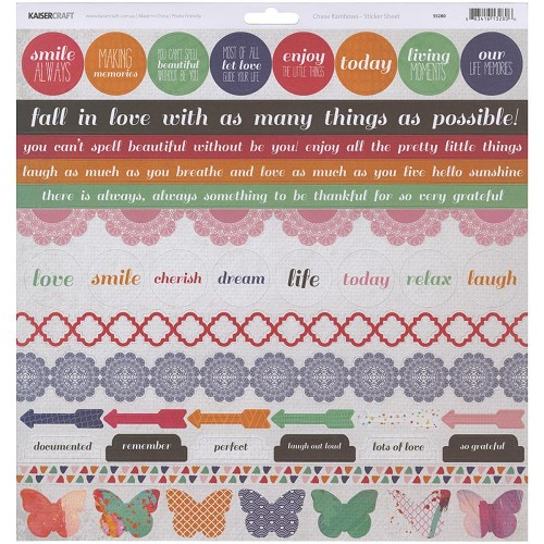 "51343 Kaisercraft Chase Rainbows Cardstock Stickers 12""X12""."
