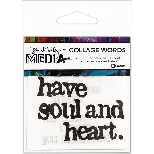 "51380 Dina Wakley Media Collage Word Pack 3""X3"" 20/Pkg."