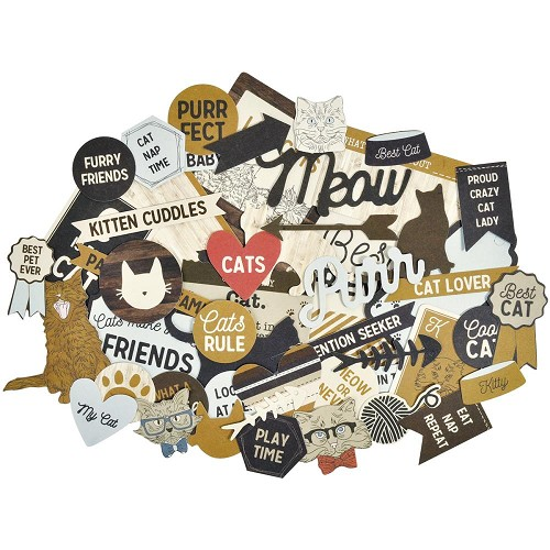 51383 Kaisercraft Collectables Cardstock Die-Cuts Pawfect Cat 50 or More Pieces.