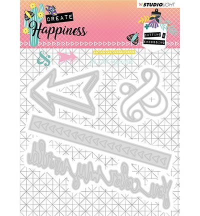 51431 Studio Light - Cutting and Embossing Die Create Happiness nr.156 (STENCILCR156).