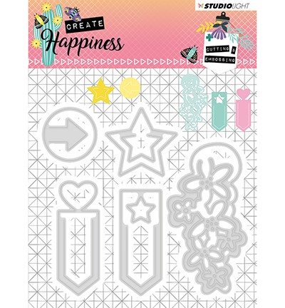 51432 Studio Light - Cutting and Embossing Die Create Happiness nr.155 (STENCILCR155).
