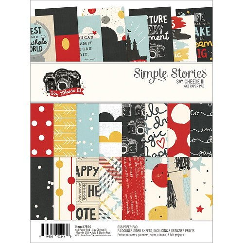 "51487 Simple Stories Double-Sided Paper Pad 6""X8"" 24/Pkg Say Cheese III, 8 Designs/3 Each."