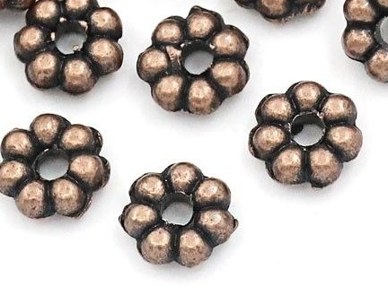 51598 Spacerbeads 65 Stuks 4,8x4,8 mm Antique Copper.