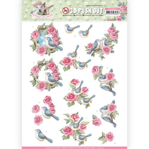 51626 3D Pushout - Amy Design - Spring is Here - Birds and Roses (SB10333).