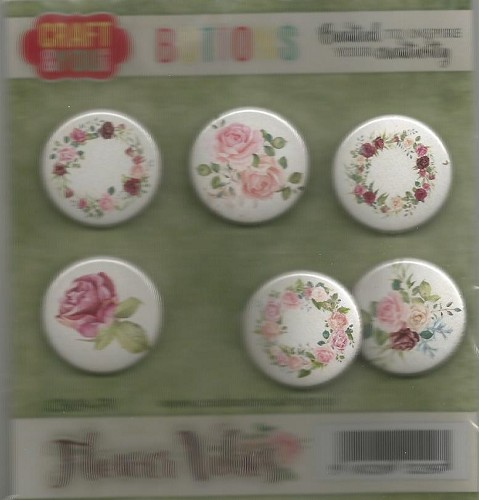 51657 Craft and You CB09-FV FLOWER VIBES Buttons 6pcs.