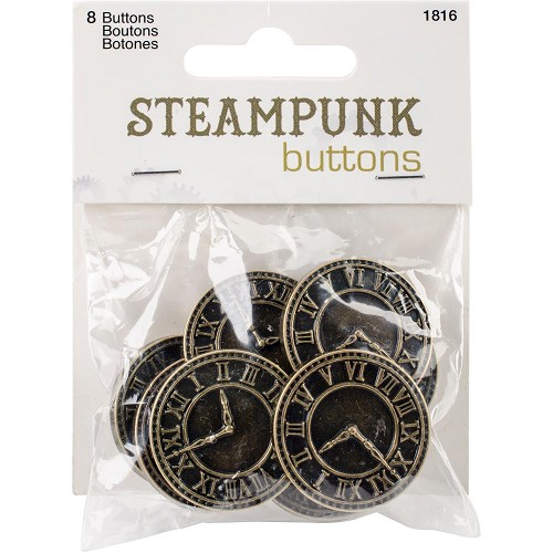 51675 Blumenthal Steampunk Buttons Antique Gold Clock 8/Pkg (1816).