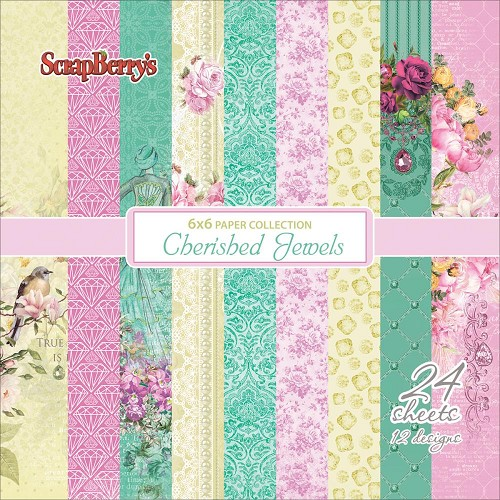 "51697 ScrapBerry`s Cherished Jewels Paper Pack 6""X6"" 24/Pkg."