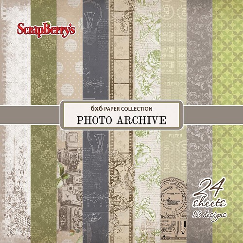 "51698 ScrapBerry`s Photo Archive Paper Pack 6""X6"" 24/Pkg."