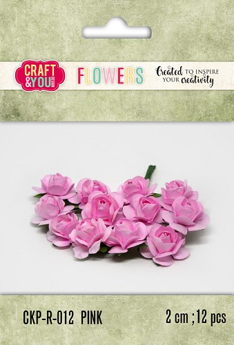 51794 Craft and You Design Paper Roses set 12pcs size 2cm PINK.