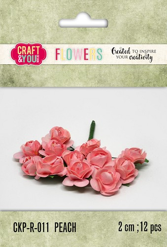 51795 Craft and You Design Paper Roses set 12pcs size 2cm Peach.