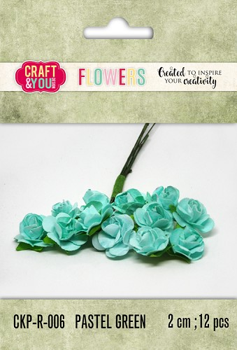 51797 Craft and You Design Paper Roses set 12pcs size 2cm Pastel Green.