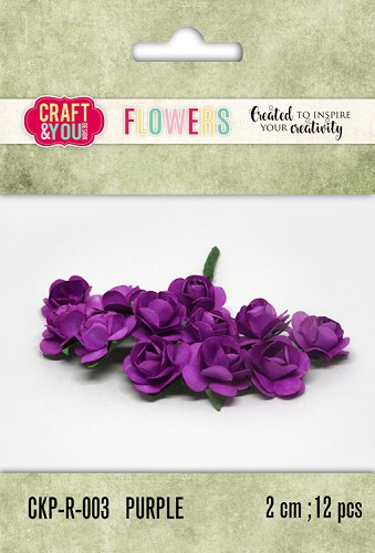 51798 Craft and You Design Paper Roses set 12pcs size 2cm Purple.