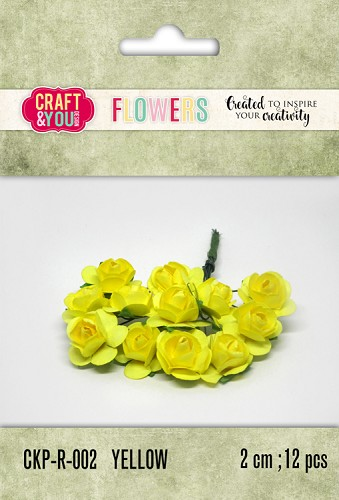51799 Craft and You Design Paper Roses set 12pcs size 2cm Yellow.