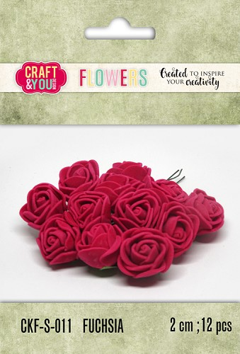 51801 Craft and You Design Foam Roses Set 12pcs size 2cm Fuchsia.