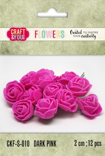 51802 Craft and You Design Foam Roses Set 12pcs size 2cm Dark Pink.