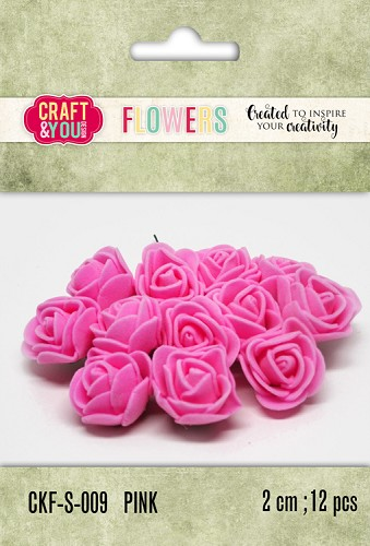 51803 Craft and You Design Foam Roses Set 12pcs size 2cm Pink.