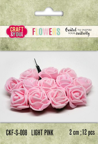 51804 Craft and You Design Foam Roses Set 12pcs size 2cm Light Pink.