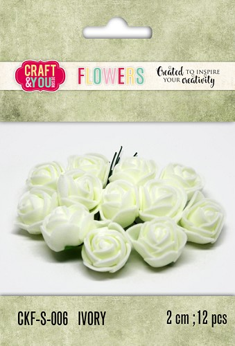 51806 Craft and You Design Foam Roses Set 12pcs size 2cm Ivory.