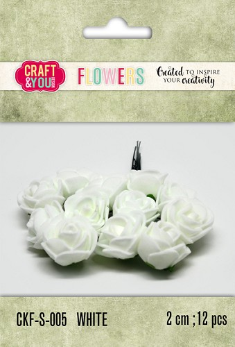 51807 Craft and You Design Foam Roses Set 12pcs size 2cm White.