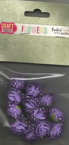 51810 Craft and You Design Foam Roses with Veil Set 12pcs size 2cm Purple