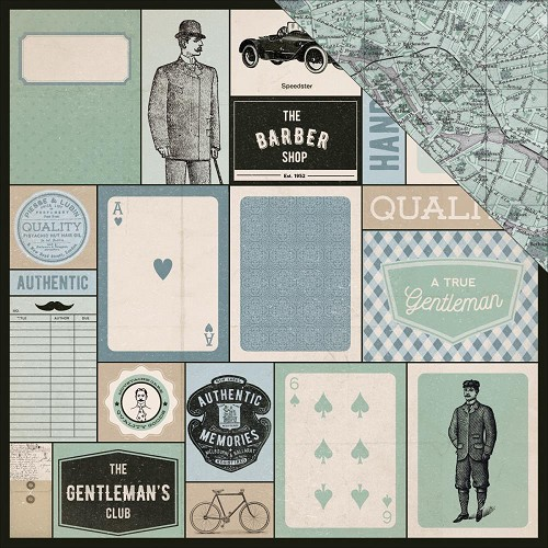 "51923 Kaisercraft Barber Shoppe Double-Sided Cardstock 12""X12"" Shave."